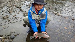 子供 フライ ニジマス 釣りの写真・画像素材[208285]