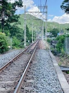 森の近くで列車の線路を下って移動する列車の写真・画像素材[4688614]