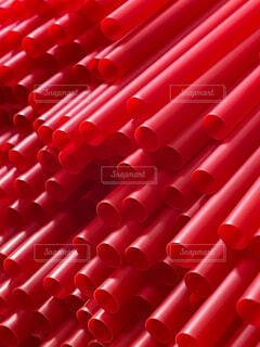 赤いストローのクローズアップの写真・画像素材[4770232]