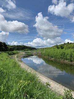川に映る夏雲の写真・画像素材[4699448]