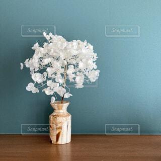 アナベルの漂白ドライと花瓶の写真・画像素材[4838555]