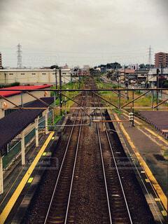 上から見た線路の写真・画像素材[4827587]