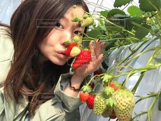 果物を持っている女性の写真・画像素材[3203007]