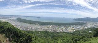 背景に山のある大きな水域の写真・画像素材[4762103]