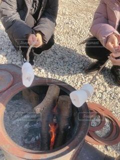 デザートのマシュマロを焚火で焼いたりBBQで焼いたりする女子の写真・画像素材[4754015]