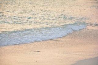 夕方の波打ち際の写真・画像素材[4771079]