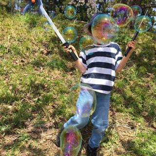 草の中に立っている小さな男の子の写真・画像素材[708288]