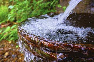 桶に流れる冷たい湧き水とその水しぶきの写真・画像素材[4825732]
