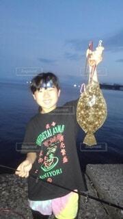ヒラメ釣れたの写真・画像素材[4786761]