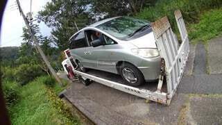 愛車故障でレッカー移動の写真・画像素材[4919675]