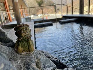 河童が見守る足湯の写真・画像素材[4768869]