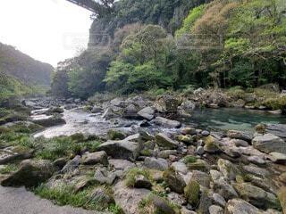 山の側に木がある岩の川の写真・画像素材[4780831]