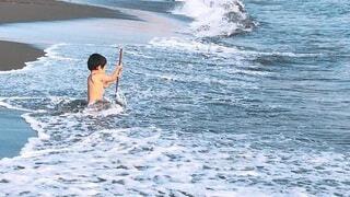 初めての海水浴の写真・画像素材[4798497]