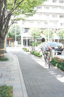 歩道をスケートボードに乗っている男の写真・画像素材[2514797]