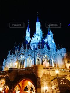 夜のシンデレラ城の写真・画像素材[1029691]