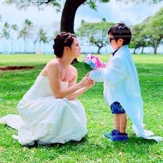 甥っ子とフォトウェディングの写真・画像素材[4939289]
