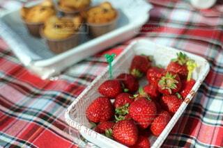 苺とマフィンを持って公園でティータイムの写真・画像素材[4872140]