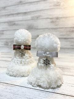サンタ帽子のホワイトクリスマスの写真・画像素材[4874098]