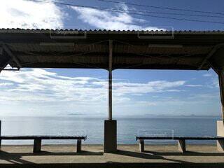 水の体の前にあるベンチの写真・画像素材[4884026]