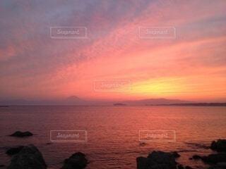 夕陽富士の写真・画像素材[4869574]