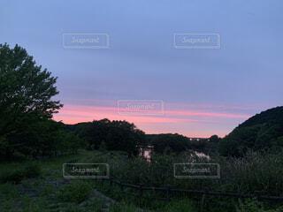 山の中での夕焼けの写真・画像素材[4875507]