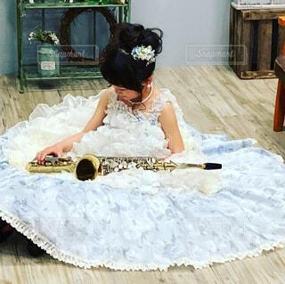 女児ドレス サックスの写真・画像素材[4897038]