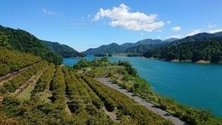 背景に山のある大きな水域の写真・画像素材[4872493]