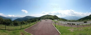 山道の側に木がある道の写真・画像素材[4873621]