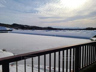 冬のダムの写真・画像素材[4872609]