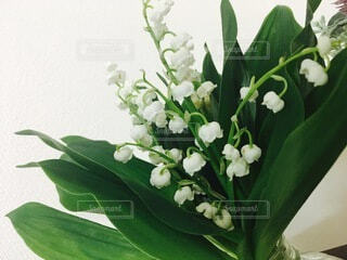 テーブルの上の花瓶に花束の写真・画像素材[4874904]