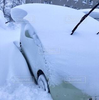 雪に埋まった車の写真・画像素材[4875762]