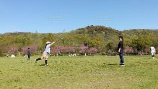 芝生でバトミントンの写真・画像素材[4873340]