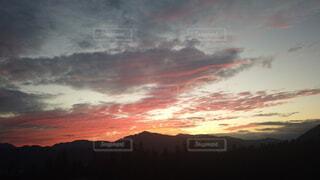 日没時の空の雲の群れの写真・画像素材[4874373]