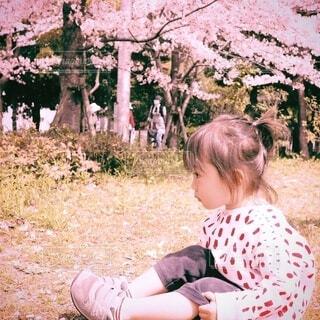 桜と女の子の写真・画像素材[4894645]