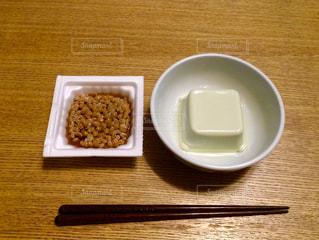 箸と豆腐と納豆との写真・画像素材[224150]