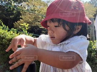 帽子をかぶって公園でお茶を飲む女の子の写真・画像素材[4911033]