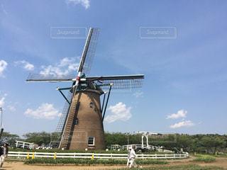 風車と青空の写真・画像素材[222701]