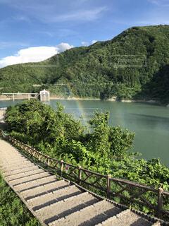ダム湖の虹の写真・画像素材[4946806]