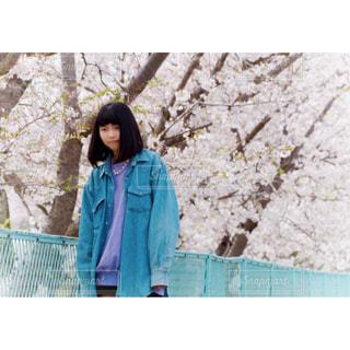 桜の中に立っている人の写真・画像素材[1069691]