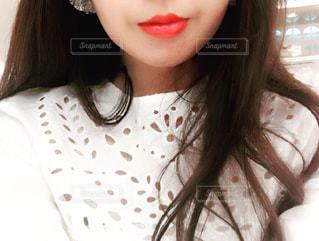 selfie を取る女性の写真・画像素材[1483651]