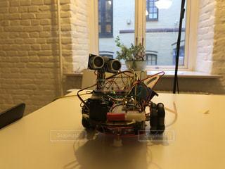 電子工作で作った自作ロボットの写真・画像素材[1849774]