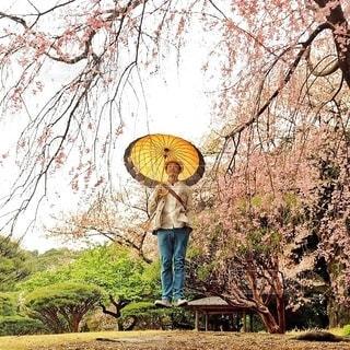 木の隣に立っている男の写真・画像素材[335]