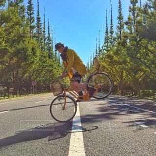 道路で自転車に乗る男の写真・画像素材[308]