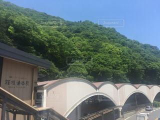 電車は建物の脇に駐車します。の写真・画像素材[713678]