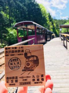 赤沢自然休養林のトロッコ列車と切符の写真・画像素材[1929682]