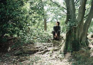フォレスト内のツリーの横に立っている人の写真・画像素材[1108]