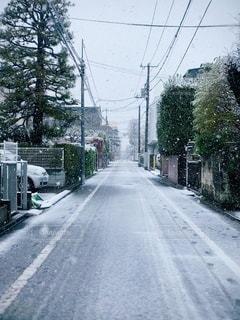 雪に覆われた道路の側に焦点を当てた街の風景の写真・画像素材[3363112]