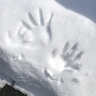 親子で積もった雪につけた手型。の写真・画像素材[1064452]