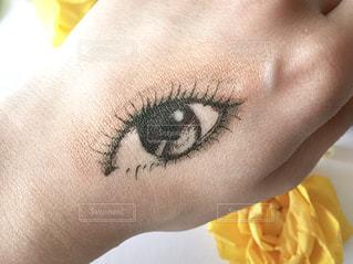 手の甲にコスメで描いたリアルな目のイラスト♪の写真・画像素材[1119026]