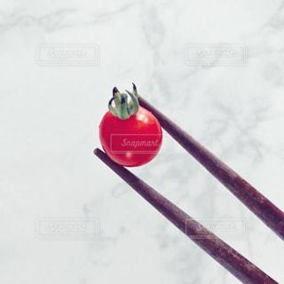 箸で掴んだマイクロトマト♪の写真・画像素材[1285543]